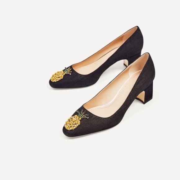 b4153d309ae Zara Blue Denim Pineapple Jewel Block Heels
